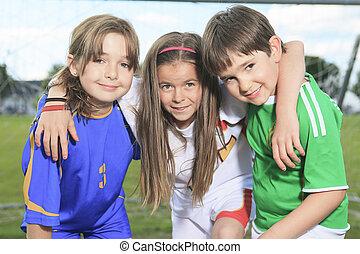 childen, játék, futball, képben látható, nyár, évad