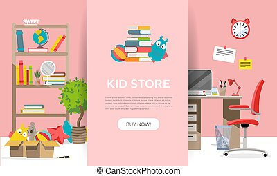 Childen's goods shop landing page in flat cartoon style. Kids game teddy bear,interior items and school supplies. Children fun activity play colorful girl room interior background vector illustration