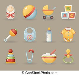 Childhood and Baby Icons  Symbols Realistic Cartoon Set Vector illustration