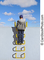 Boy standing on the ladder