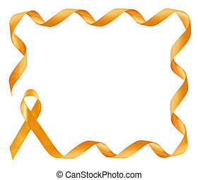 Childhood Cancer Awareness golden Ribbon frame with copy space