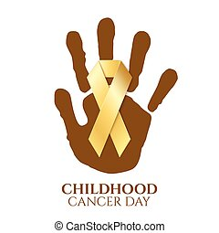Childhood cancer day golden ribbon.