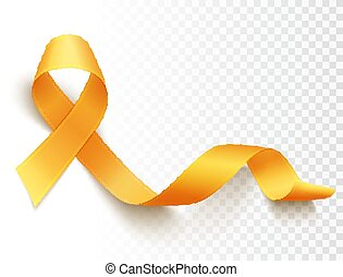 Childhood cancer day - Realistic gold ribbon, childhood ...
