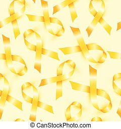 Childhood Cancer Day with symbol yellow ribbon seamless...