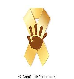Childhood cancer golden ribbon.