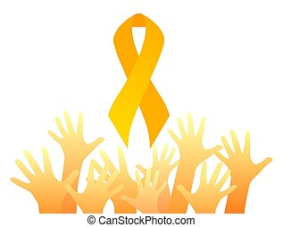 Childhood cancer. Yellow hands up and gold ribbon. Children cancer awareness. Symbol of hope and unity. Vector element