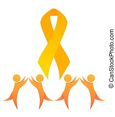 Childhood cancer. Yellow happy dance people and gold ribbon. Children cancer awareness. Symbol of hope and unity. Vector element