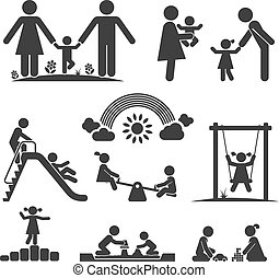 CHILDHOOD - Children play on playground. Pictogram icon set