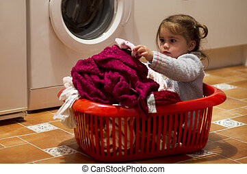 Childhood - Clothing and Laundry - Portrait of an adorable...