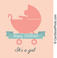 Childhood design - childhood design over dotted pink...