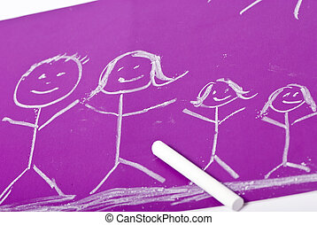 Childhood drawing - A young child\'s drawing of her family