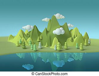 Childhood dream fantasy world mountain lake landscape 3d environment