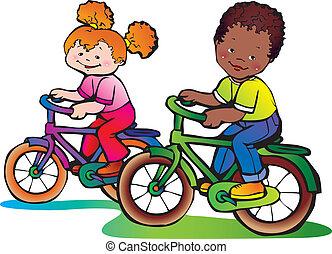 Childhood. - Nice girl and boy on the bikes. Happy...