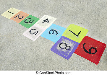 Childhood - Games - Colorful children's hopscotch on...