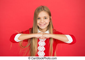 Childhood happiness. small girl child. School education. family and love. childrens day. Good parenting. Child care. happy little girl on red background. Family bonding time