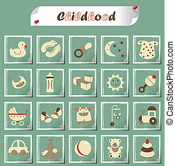 childhood icons - set of icons for kids