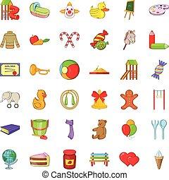 Childhood icons set, cartoon style