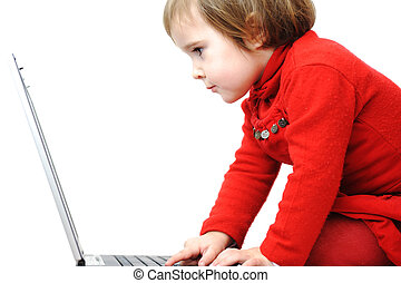 Childhood, laptop, learning and playing