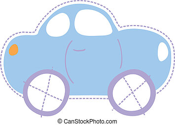 childhood little car - isolated car illustration, very easy...