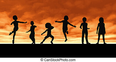 Childhood Memories and Children Playing in a Group