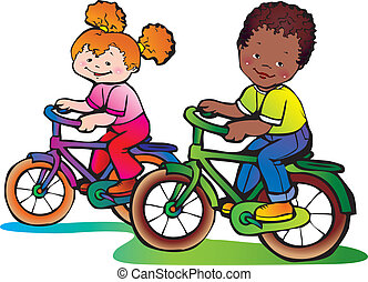 Nice girl and boy on the bikes. Happy childhood. Vector art-illustration.