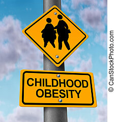 Childhood Obesity - Childhood obesity concept with a traffic...