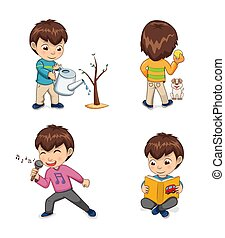 Childhood of Boy Collection Vector Illustration