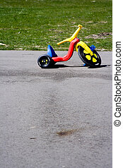 childhood toy - Childhood red and yellow plastic tricycle...