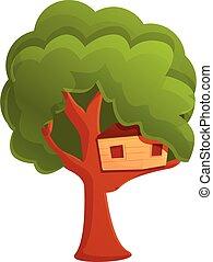 Childhood treehouse icon, cartoon style - Childhood ...