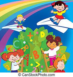 Childhood. - Happy childhood. Vector art-illustration.