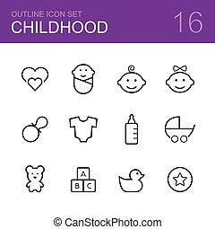 Childhood vector outline icon set