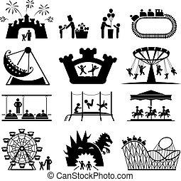 Childhood vector set. - Amusement Park icons. Children play...