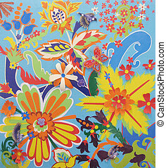 Childish applique with colorful abstract flowers and dove