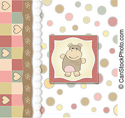 childish baby girl shower card with hippo toy