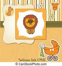 childish baby shower card with cartoon lion
