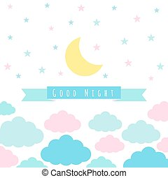 Childish background with moon cloud