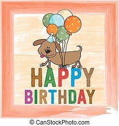 childish birthday card with funny dog