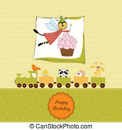 Childish birthday card with funny dressed bee