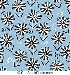 Childish blue pattern with black and white flowers