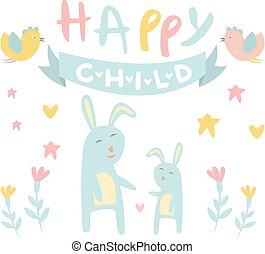 Childish Bunny with Mom Flat Vector Illustration