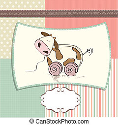 childish card with cute cow toy, vector illustration