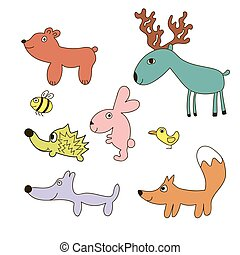 Childish cartoon forest wild animals
