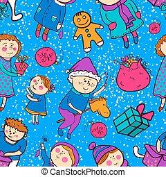 Childish christmas vector seamless pattern in cartoon style