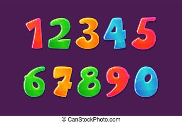 Childish colorful bubble numbers set design vector illustration isolated.