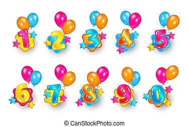 Childish colorful bubble numbers set design