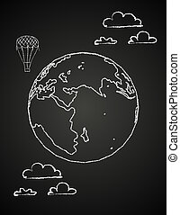 Childish drawing of a globe in chalck