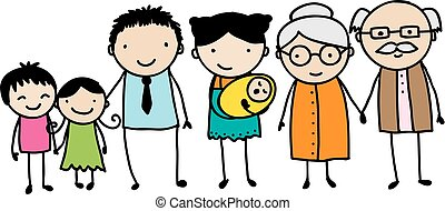 Childish family doodle - Children's style drawing of a...