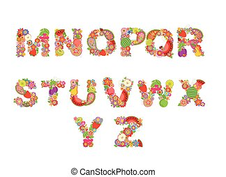 Childish funny vector flowers font with fruits. Summery alphabet, part 2