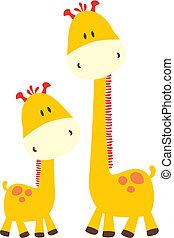 childish giraffe and mommy - baby giraffe and mom, vector...