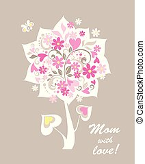 Childish greeting applique with cut out paper bouquet with pink daisy and hearts for mother's day